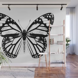 Monarch Butterfly | Vintage Butterfly | Black and White | Wall Mural