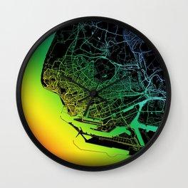 Le Havre, France, City, Map, Rainbow, Map, Art, Print Wall Clock