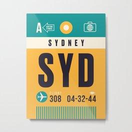 Baggage Tag A - SYD Sydney Australia Metal Print