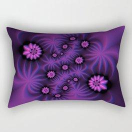 Berry Colored Fractal Flowers Rectangular Pillow
