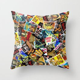 50s Movie Poster Collage #14 Throw Pillow