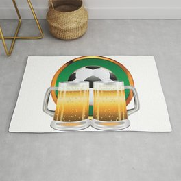 Beer glasses and Soccer Ball in green circle Rug
