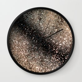 Sparkling GOLD BLACK Lady Glitter #3 #decor #art #society6 Wall Clock