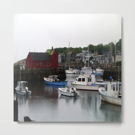 Rockport Inner Harbor With Lobster Fleet And Motif No.1 Metal Print