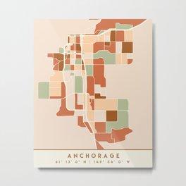 ANCHORAGE ALASKA CITY MAP EARTH TONES Metal Print