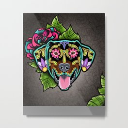 Doberman with Floppy Ears - Day of the Dead Sugar Skull Dog Metal Print