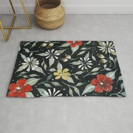 Southwest Style Oval Floral Gouache Painting Rug
