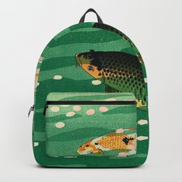 Vintage Japanese Woodblock Print Asian Art Koi Pond Fish Turquoise Green Water Cherry Blossom Backpack
