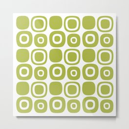 Mid Century Modern Garden Path Pattern 359 Olive Green Metal Print