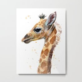 Giraffe Watercolor Cute Baby Animals Metal Print