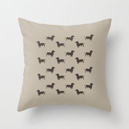 Dachshund Pattern - Tan Throw Pillow