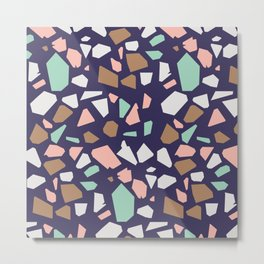 Large Speckles Mosaic Terrazzo Metal Print