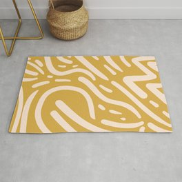 Earthy Mustard Yellow and Light Peach tribal inspired modern pattern Rug