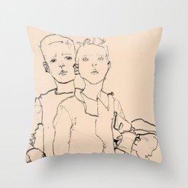 Egon Schiele - Three street boys Throw Pillow