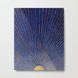 Twilight / Blue and Metallic Gold Palette Metal Print