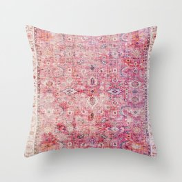 N45 - Pink Vintage Traditional Moroccan Boho & Farmhouse Style Artwork. Throw Pillow