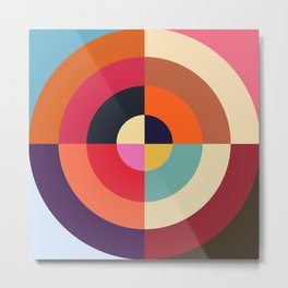 Autumn - Colorful Classic Abstract Minimal Retro 70s Style Graphic Design Metal Print