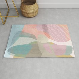 Shapes and Layers no.16 - Watercolor and pastel abstract painting Rug