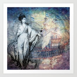 Inspire - A muse and her ship of dreams collage Art Print