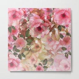 Romantic flowers pattern Metal Print