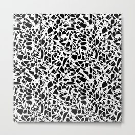 Terrazzo Spot 2 Black on White Metal Print