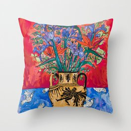 Icarus Floral Still Life Painting with Greek Urn, Irises and Bird of Paradise Flowers Throw Pillow