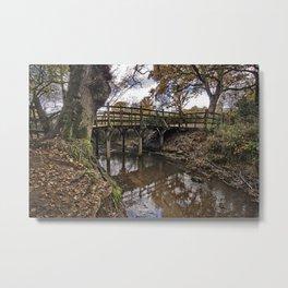 Pooh Bridge In Autumn Metal Print