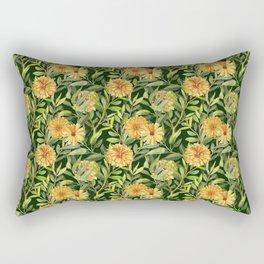 Watercolor botanical calendulas and branches seamless pattern Rectangular Pillow