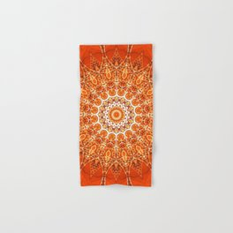 Detailed Orange Boho Mandala Hand & Bath Towel