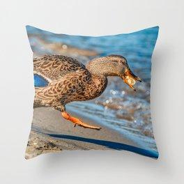 The Getaway Duck Photograph Throw Pillow