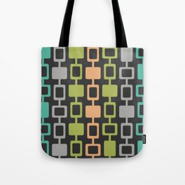 Mid Century Modern Square Columns Charcoal Orange Chartreuse Turquoise Tote Bag
