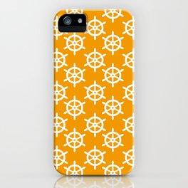Ship Wheel (White & Orange Pattern) iPhone Case
