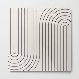Minimal Line Curvature - Black and White I Metal Print