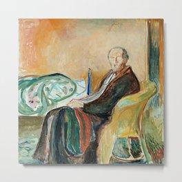 Edvard Munch - Self-Portrait with the Spanish Flu Metal Print