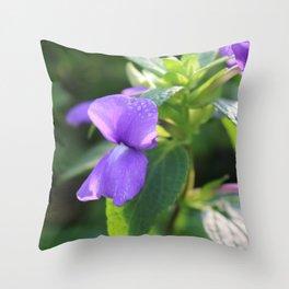 Purple Snap Dragon Flowers Throw Pillow