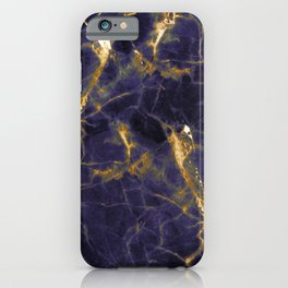 Majesty Purple Marble With 24-Karat Gold Hue Veins iPhone Case