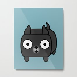Pitbull Loaf - Black Pit Bull with Cropped Ears Metal Print