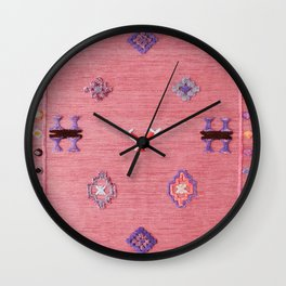 Pink Oriental Traditional Boho Moroccan Style Design Artwork Wall Clock
