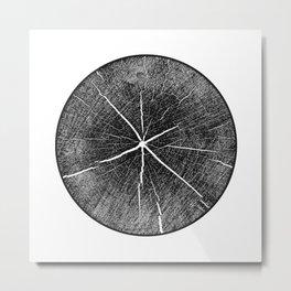 Detailed black and white inked tree stamp Metal Print