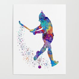 Girl Field Hockey Watercolor Print Field Hockey Gift Sports Poster Home Decor Girl's Room Decor Poster