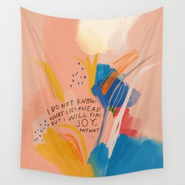 Find Joy. The Abstract Colorful Florals Wall Tapestry