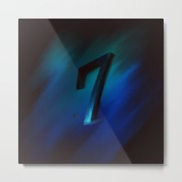 Number seven in Blue, Black, Design Metal Print