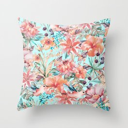 Tropical Jungle Flowers And Birds In Soft Pastels Throw Pillow