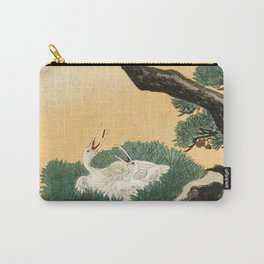 Crane and its chicks on a pine tree  - Vintage Japanese Woodblock Print Art Carry-All Pouch