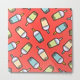 Bubble Tea Pattern in Red Metal Print
