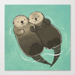 Significant Otters - Otters Holding Hands Leinwanddruck