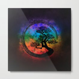 Enso Zen Circle and Bonsai Tree Nebula Metal Print