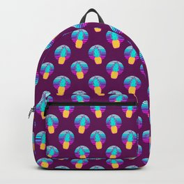 Vaporwave pineapples. Maroon background. Backpack