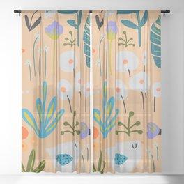 Mid-Century Modern Design in Green and Orange on Tangerine Sheer Curtain