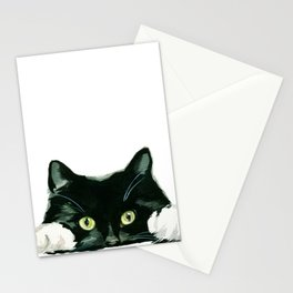 Black cat watching at you Stationery Cards